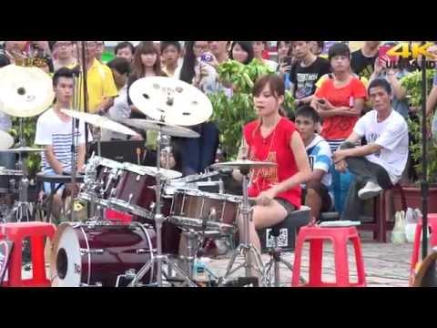 4K畫質 曼青 羅小白 爵士鼓 王妃(4K 2160p)@凱旋夜市爵士鼓表演[無限HD] 🏆