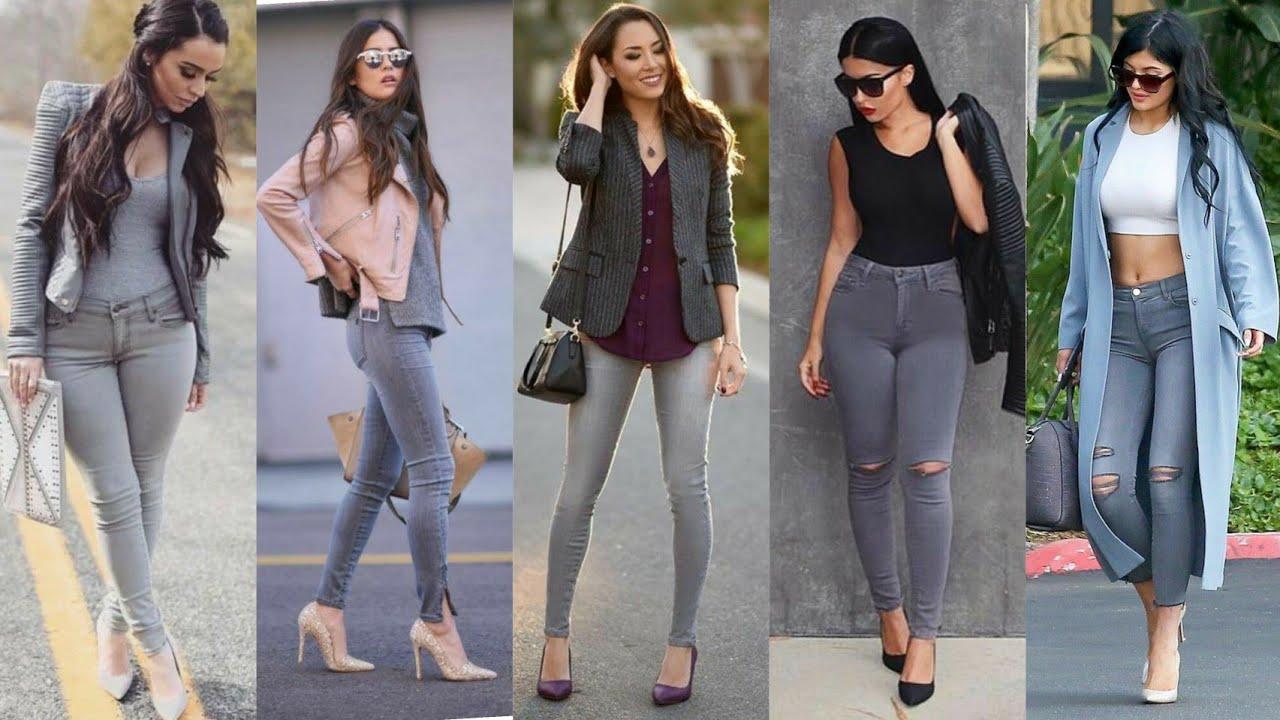 Combina Asi Tus Jeans Gris Y Luce Esplendida Y Divina Outfits Sencillo Y Elegante Moda Para Mujer Youtube