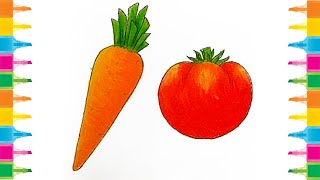 How to draw Carrot and Tomato For Kids Easy drawing