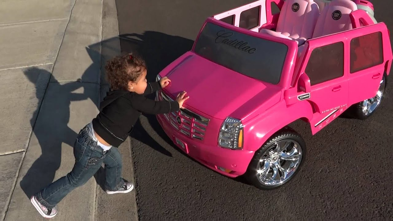 Sophia driving her barbie escallade for the first time Sophia house