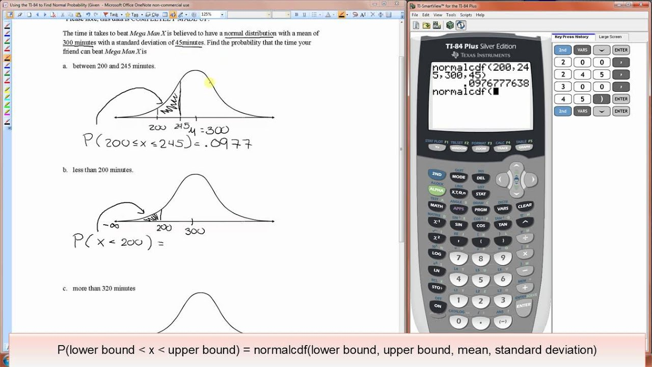 Using the ti 84 to find normal probability youtube ccuart Gallery