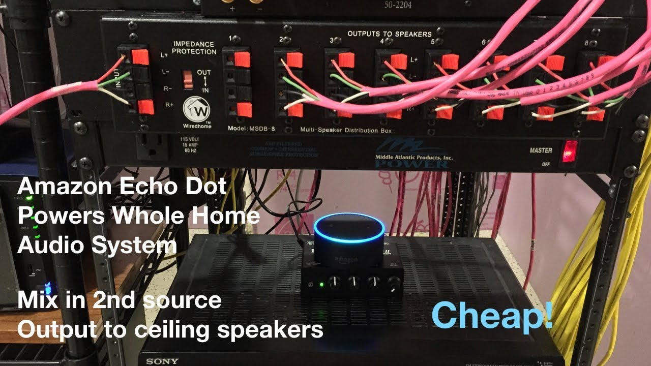hight resolution of amazon echo dot and 2nd source and hook it up to your existing wired whole home audio system