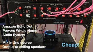 Amazon Echo Dot and 2nd source and hook it up to your existing wired whole home audio system.