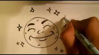 How to Draw a Smiling Moon - Easy Things to Draw