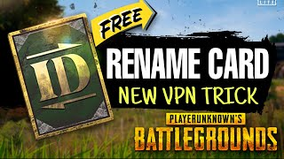 HOW TO GET FREE RENAME CARD IN PUBG MOBILE | FREE RENAME CARD MALAYALAM | NEW VPN TRICK MALAYALAM