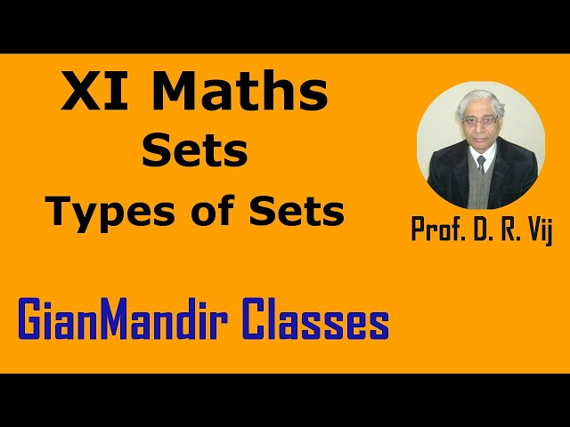 XI Maths | Sets | Types of Sets by Divya Ma'am