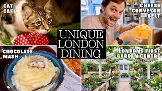 UNIQUE LONDON DINING: Cheese Conveyor Belt, Eat in a Toilet, Chocolate Potatoes!