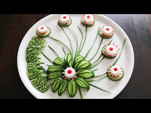 Vegetable Carving Garnish   Cucumber & Radish Flower Garnish