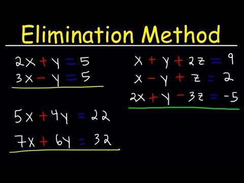 Elimination Method For Solving Systems of Linear Equations U