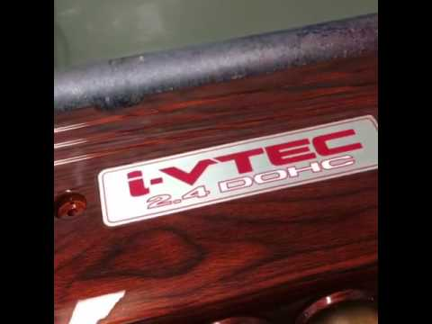 TSX woodgrain engine cover hydro dip hydrographics Maine Coast Customs cl9 RSX civic si jdm password