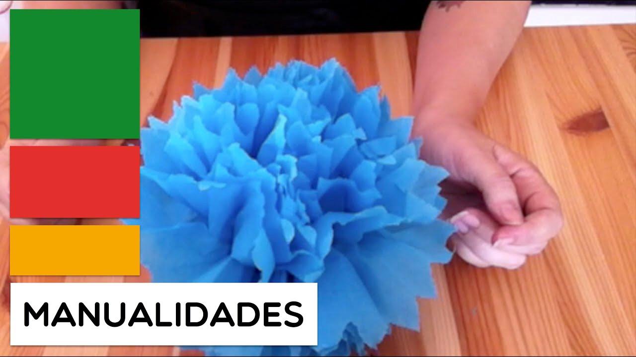 Como se hacen las rosas de papel crepe manualidad - Como se hacen flores de papel ...