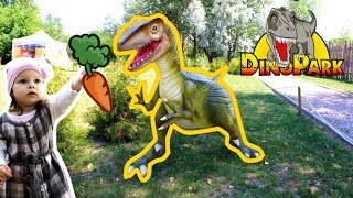 Little Sasha and Dinosaurs. Travel to Dino Park. Big monsters are good and evil
