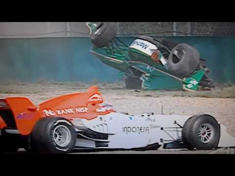 Massive A1GP Crash Michael Devaney A1 Team Ireland Shangai