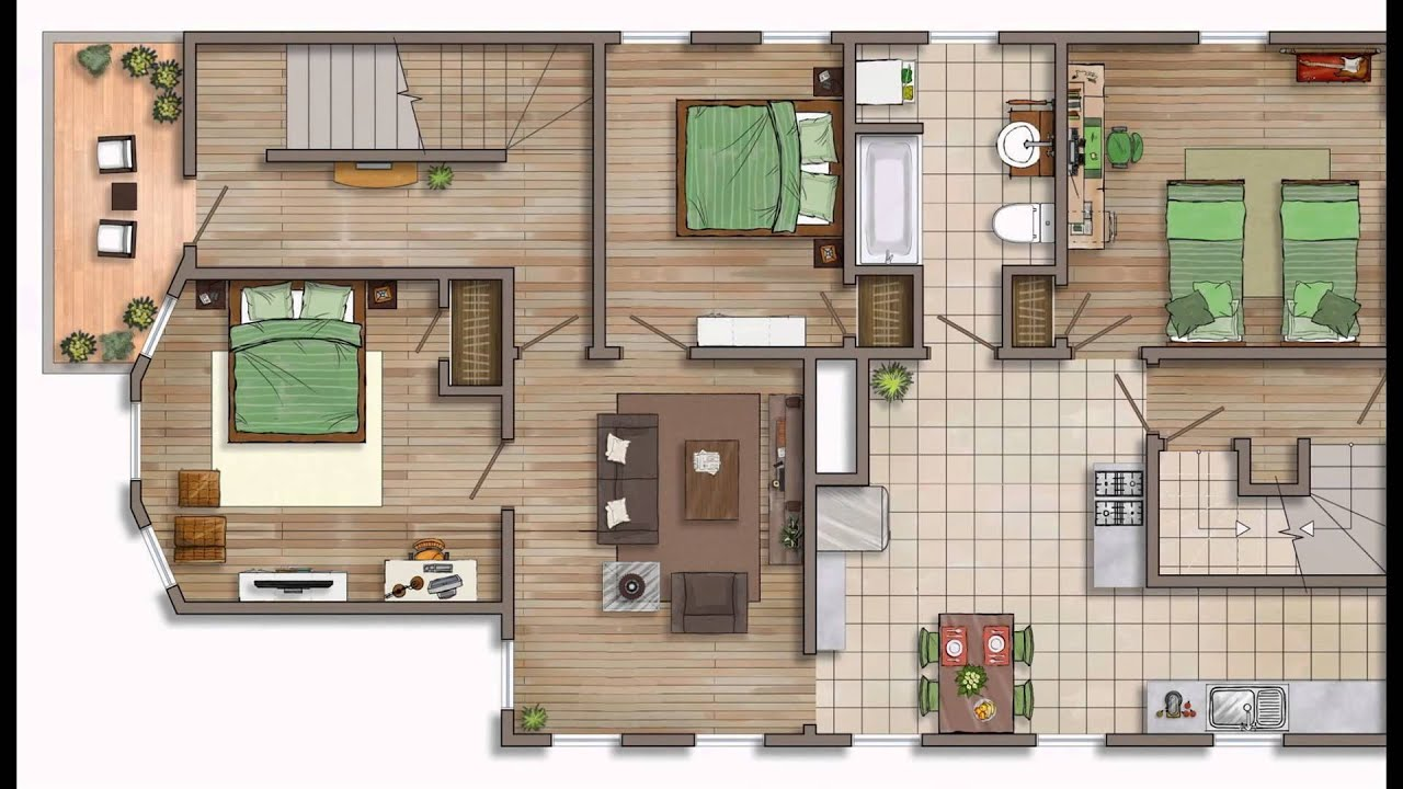 Floor plan rendering youtube for Plan rendering ideas