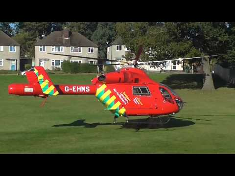 Air Ambulance Helicopter landing on my front lawn