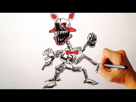 ♥ How To Draw Nightmare Mangle FNAF 4 Halloween Edition