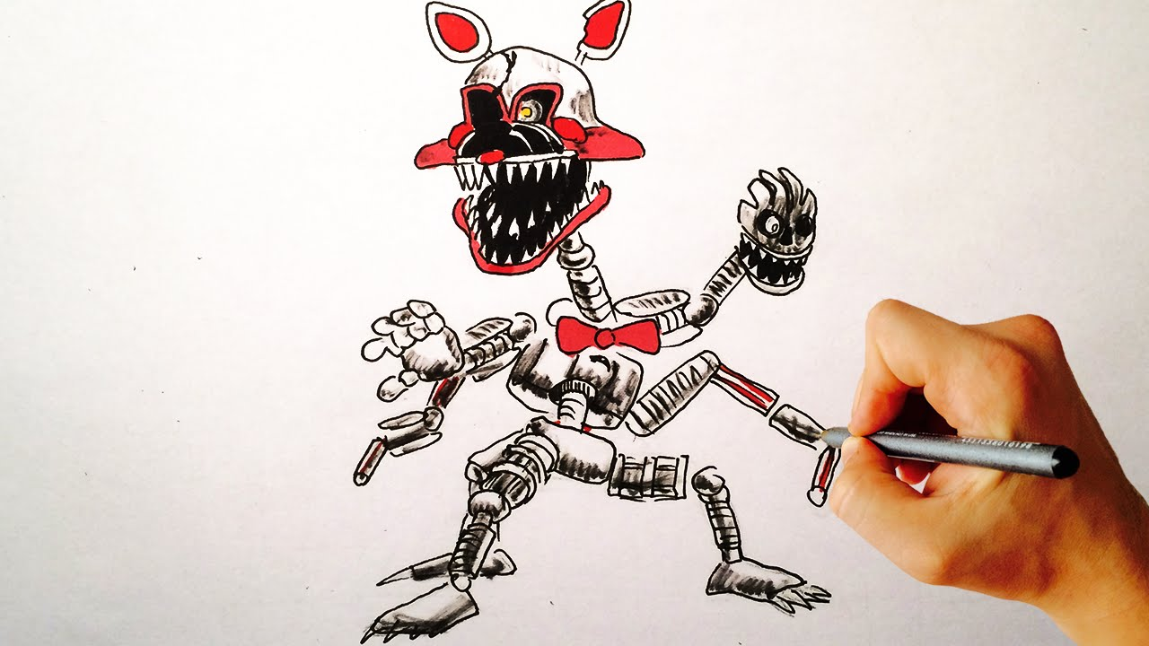 How to draw nightmare mangle fnaf 4 halloween edition youtube