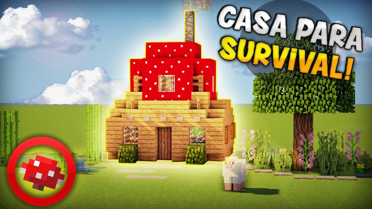Minecraft como hacer una casa super r pida con un hongo for Como amueblar una casa