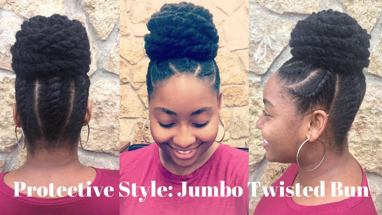 4c hair protective styles jumbo twisted bun 4c protective hairstyle as 5218