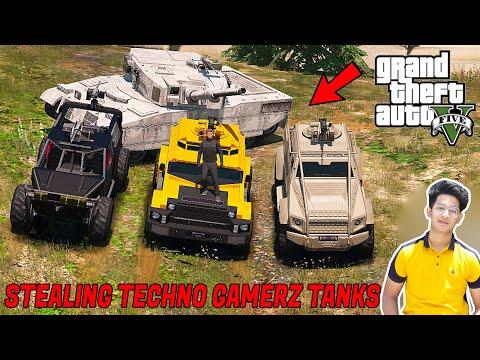 GTA 5 : STEALING TECHNO GAMERZ SECRET TANKS   GTA V GAMEPLAY