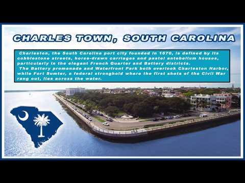 Downtown Charleston, South Carolina. Drone Video 4K HD