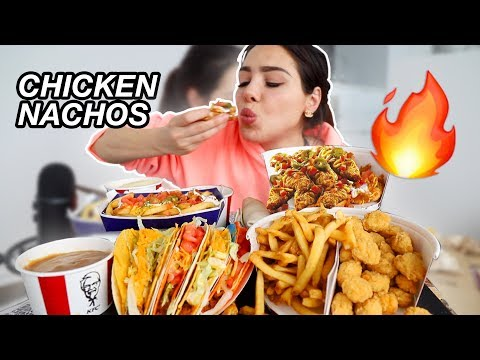 NEW CANADIAN KFC + TACO BELL FRIED CHICKEN NACHOS 먹방 MUKBANG & TACOS