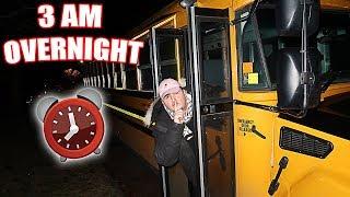 3 AM OVERNIGHT CHALLENGE ON A SCHOOL BUS!! SCHOOL BUS OVERNIGHT CHALLENGE