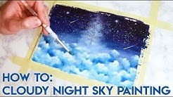 HOW TO PAINT: Cloudy Night Sky Watercolor/Acrylic Ink