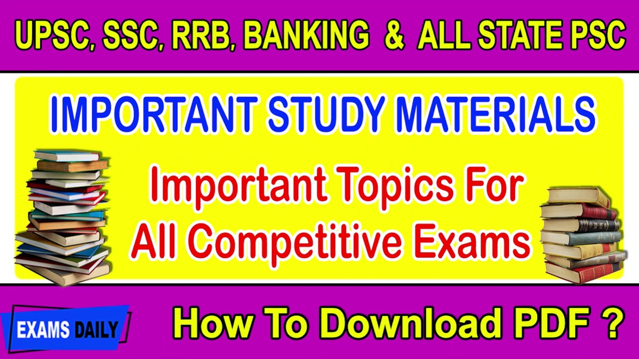 Important Study Materials Pdf for all Competitive Exams