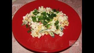 Постный салат с крабовыми палочками и пекинской капустой