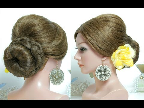 Updo Hairstyles. Easy Braided Bun. Hair Tutorial