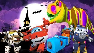 Halloween Surprise Eggs with  Learn Colors Super Wings and Dinosaurs