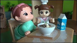 콩순이 콩콩이 짜장면 요리 장난감 놀이 Kongsuni baby doll Black Noodle Cooking Toys Play MP3