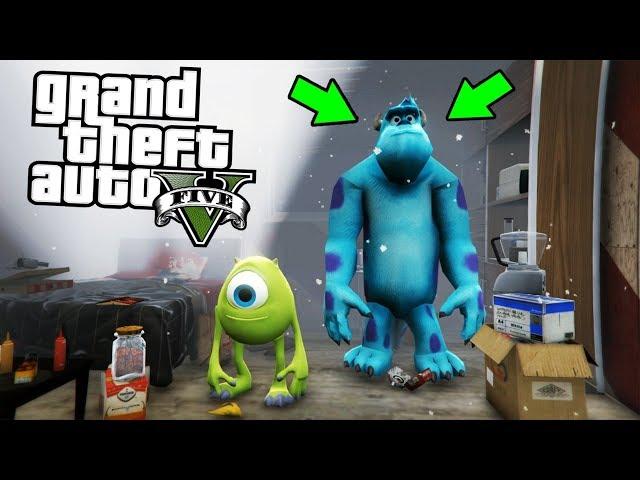 ENCONTRÉ A MIKE Y SULLY (Monsters Inc) !! - GTA V [Secreto/Misterio/Mod]