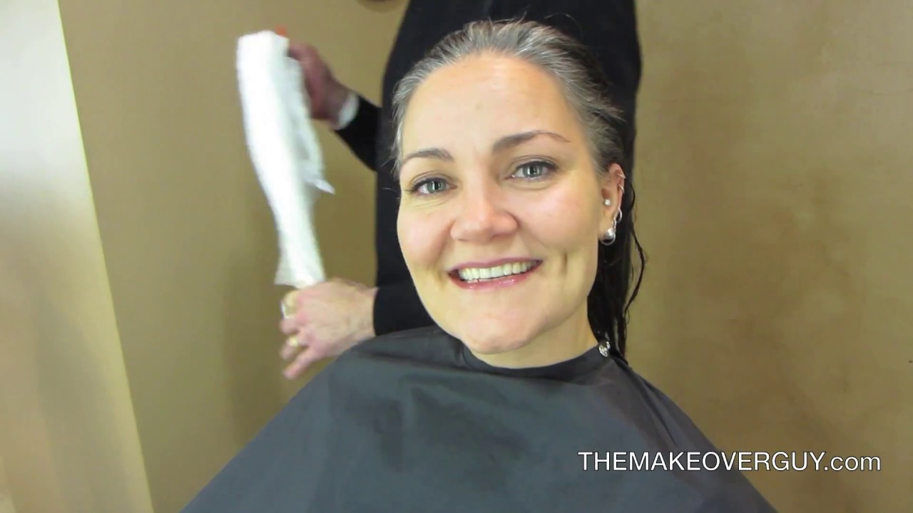 dramatic long hair cut short makeover by christopher long hair cut super short and reveal the gray by
