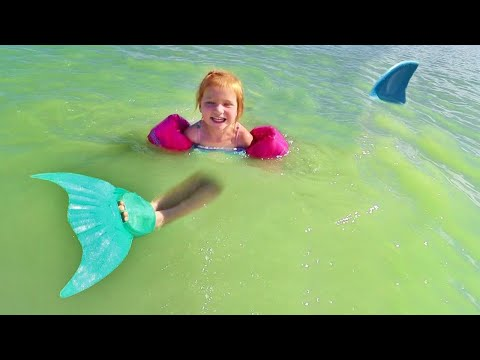 MERMAID swimming in SHARK water!! Beach Day at the Backyard Lake with Adley and Baby Niko!
