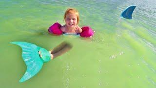 Download lagu MERMAID swimming in SHARK water!! Beach Day at the Backyard Lake with Adley and Baby Niko!