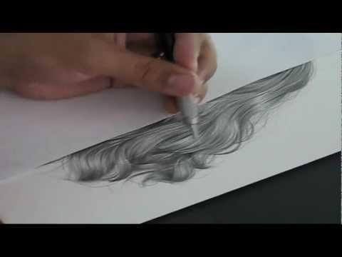 Tutorial drawing hiperrealistic hair in pencil