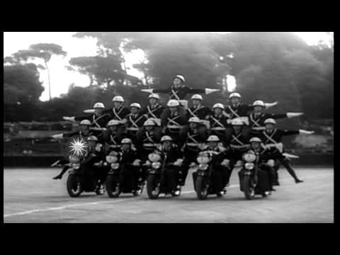 Rome's elite motorcycle police stage a precision drill and free-wheeling at fancy...HD Stock Footage