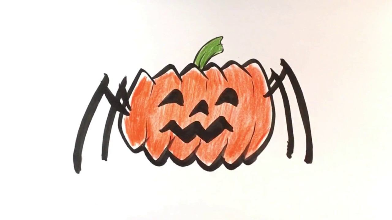 How to Draw Pumpkin Spider - Cute - Halloween Drawings ...