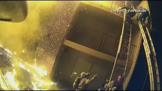 Kid THROWN from THIRD level of burning building!! Amazing what happens next!