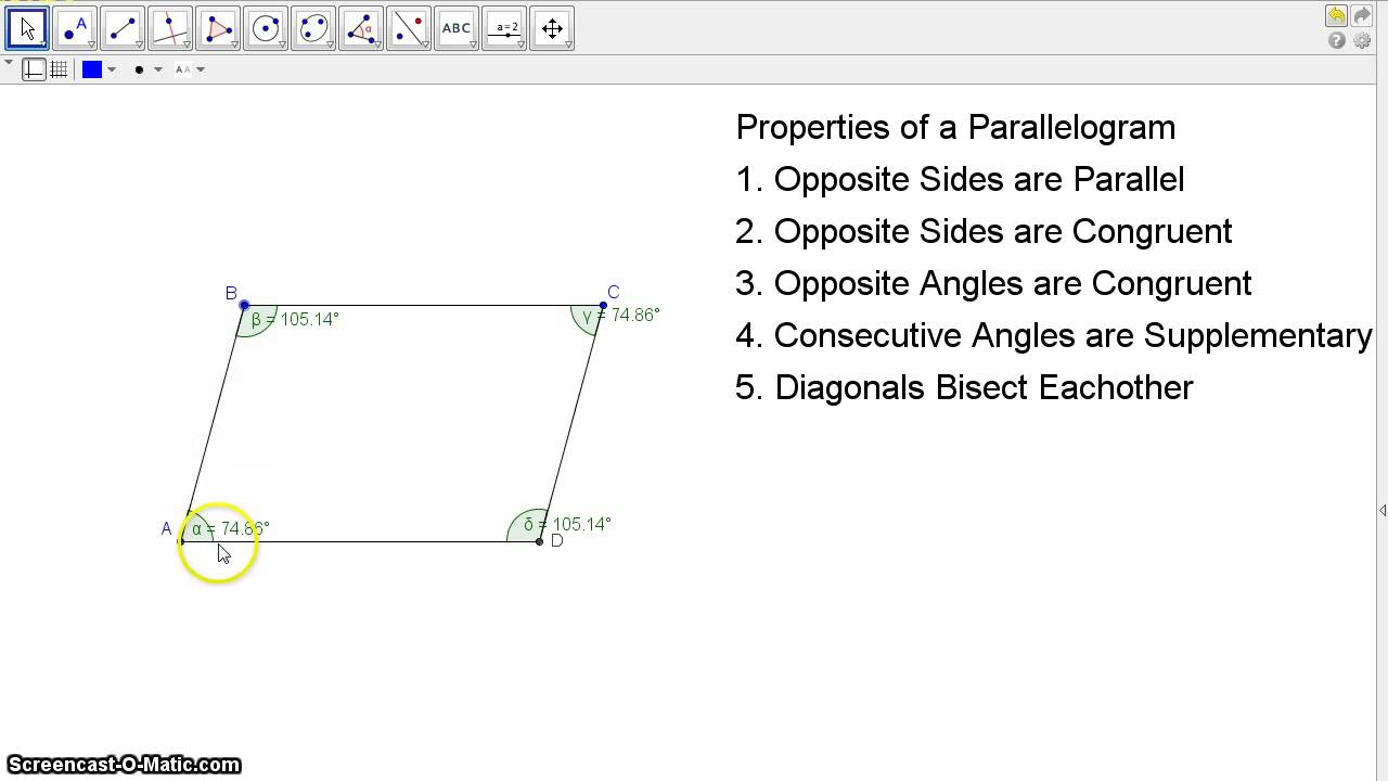 what are the properties of parallelograms