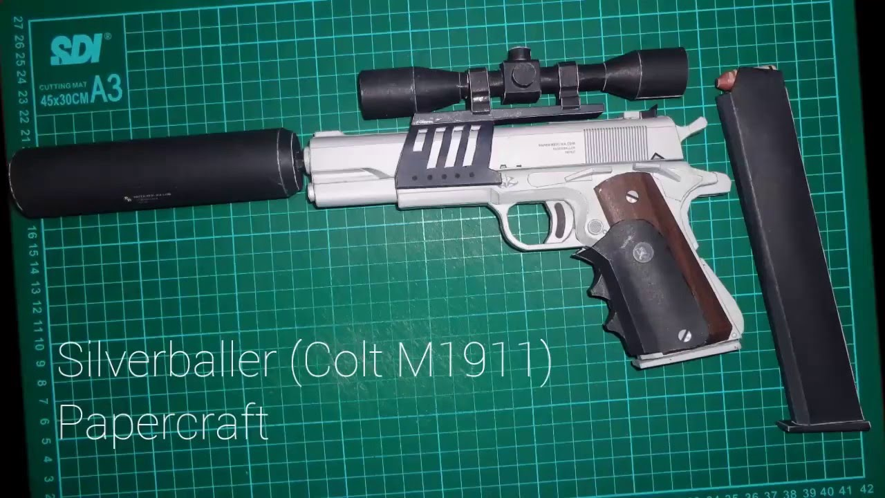 Papercraft Silverballer (Colt M1911) l Full Papercraft Build l Time-lapse