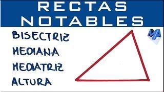 Rectas notables de un triángulo | Bisectriz, mediana, mediatriz y altura