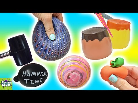 Cutting Open Squishy Toys! ALL Homemade! Gross Surprise Squishy Pudding Stress Balls Doctor Squish