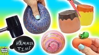 Cutting Open Squishy Toys! ALL Homemade! Surprise Squishy Pudding Stress Balls Doctor Squish thumbnail
