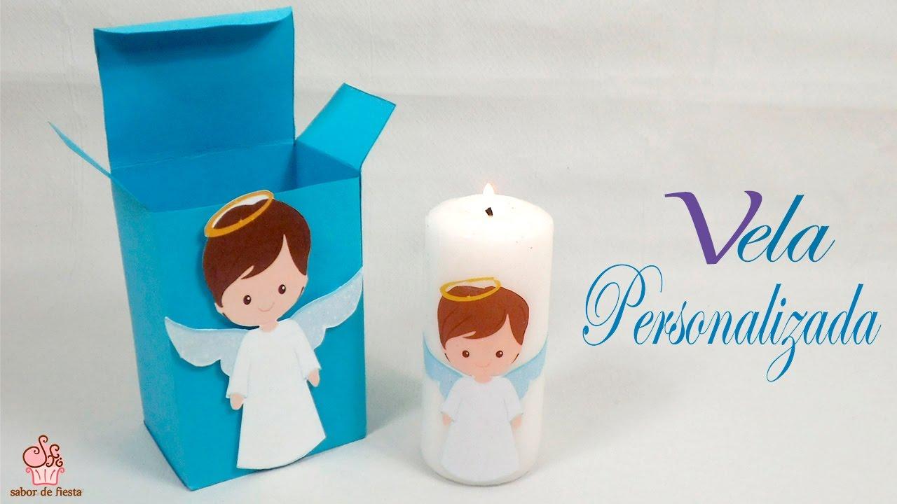Vela personalizada para recuerdos de baby shower bautizo for Decoracion de velas para bautizo