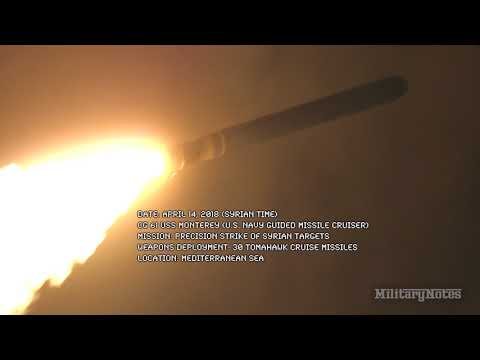 CG 61 USS MONTEREY Fires 30 Tomahawk Cruise Missiles 4/13/2018