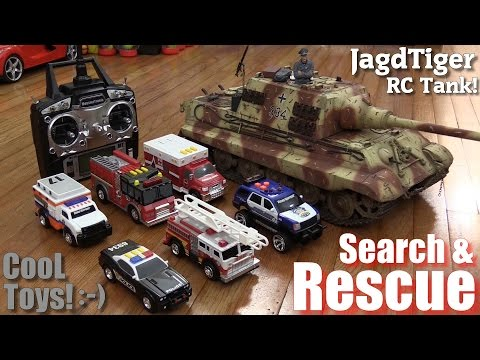 Toys for Kids! Search and Rescue Fire Trucks, Police Cars and Ambulance + A Jagdtiger RC Tank