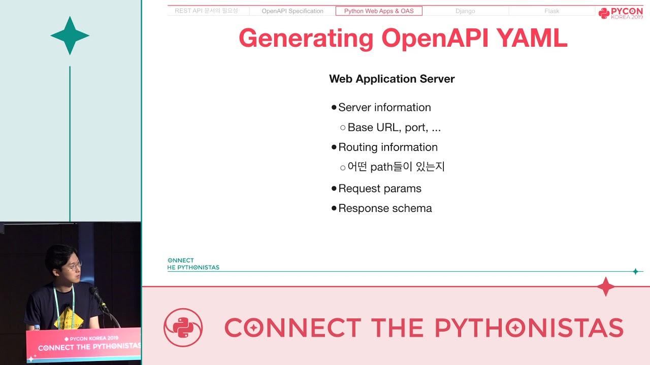 Image from 파이썬 웹서버 REST API 문서 쉽고 빠르게 작성하기 - 이용선 - PyCon.KR 2019